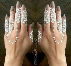 White finger henna design