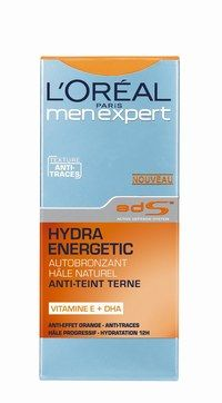 Hydra Energetic autobronzant L'Oréal Paris Men Expert - Beauté des hommes - Un soin autobronzant, justement dosé en DhA, enrichi en vitamine E, à l'Active defense system, puissant actif apaisant qui renforce la résistance naturelle de la peau et hydrate jusqu'à 12 H...