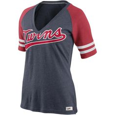 Minnesota Twins Nike Women's Cooperstown Collection Fan V-Neck T-Shirt Γ- Navy Blue
