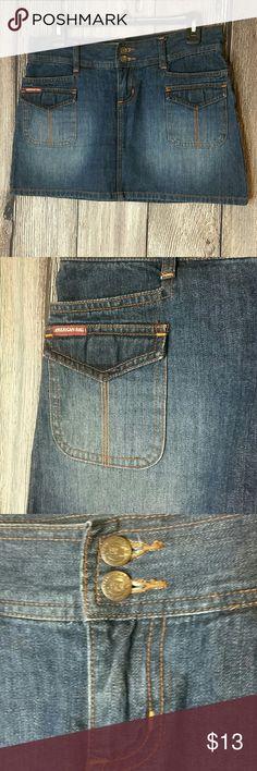 Juniors American Rag Dark Denim Skirt Sz 3 American Rag dark, distressed skirt. Sz 3 Two buttons / zipper closure. American Rag Jeans