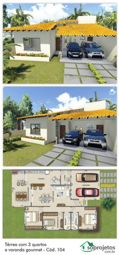3 Bedroom Ground Floor with Gourmet Balcony - Cod. Dream House Plans, Modern House Plans, Small House Plans, Modern House Design, House Floor Plans, My Dream Home, Layouts Casa, House Layouts, Bungalow
