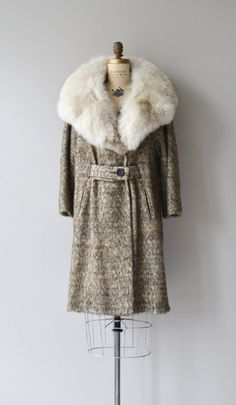 Vintage 1960s marled taupe, grey, olive and cream mohair-like tweed coat with commanding Norwegian fox fur collar, front buttoning belt that wraps
