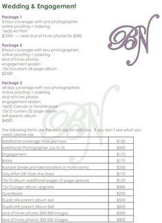 Wedding Photography Checklist Template | Atlanta wedding photographer price list wedding album prices