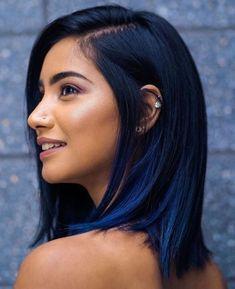 Hair Dye Colors, Hair Color For Black Hair, Cool Hair Color, Black Hair With Blue Highlights, Short Black Hair, Blue Hair Streaks, Short Dyed Hair, Brown Hair, Indigo Hair Color