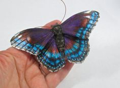 Leather Red-Spotted Purple butterfly brooch by IlluminatedLeather