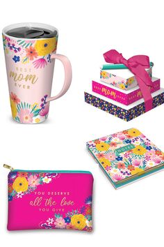 Happy Floral Mom Collection by Lady Jayne: Travel Mug, Tower of Notes, Note Pad and Glam Bag Great Gifts For Mom, Good Notes, Best Mom, Love You, Mugs, Lady, Floral, Tower, Travel