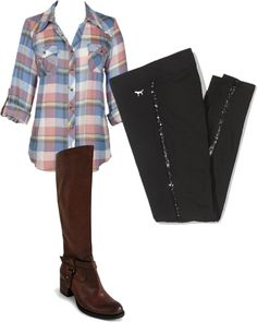 """""""Horseback riding outfit"""" by walter-rachel on Polyvore- I love the flannel!!"""