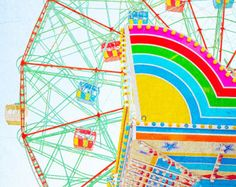 "Nursery and Kids room Decor // Wonder Wheel Coney Island // Large Oversized Print // Bright Yellow Pink Turquoise & Blue - ""Thrills"""