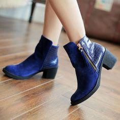 Big Size Plaid Zipper Square Heel Martin Ankle Boots - Gchoic.com