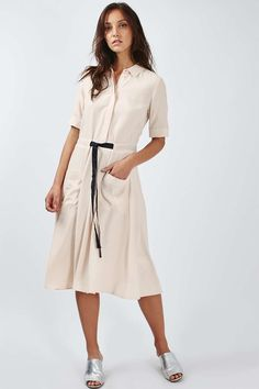 Grosgrain Belted Shirt Dress