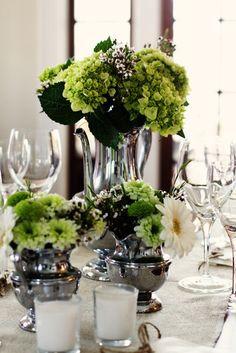 Vintage tea service becomes vessels for floral arrangements :) Love Flowers, Beautiful Flowers, Green Flowers, Vintage Flowers, Floral Wedding, Wedding Flowers, Wedding Decorations, Table Decorations, Centerpieces