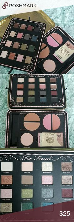 Too Faced Makeup Set This set includes 16 shades of eyeshadow, 2 blushes, 2 bronzer, and a highlighter. There are two empty slots in the bottom tray from the brush that I lost and the eyeshadow primer I used all of. The rest of the set is pretty much new, just one eye shadow I actually used and everything else is barely touched. Any questions feel free to ask :) Too Faced Makeup