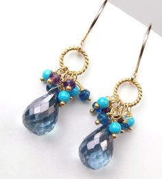 RESERVED FOR s - Blue Gemstone Earrings London Blue Quartz Earrings Cluster Gold Wire Wrapped