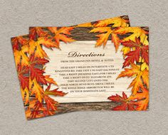 Fall Wedding Directions Card DIY Printable by iDesignStationery