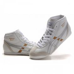 2012 Asics Onitsuka Tiger MEXICO 66 High Mens Shoes White Sliver Gold