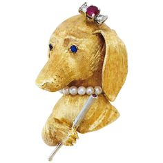 Charming Pearl Ruby Sapphire Diamond Gold Hound Dog Brooch | From a unique collection of vintage brooches at https://www.1stdibs.com/jewelry/brooches/brooches/