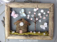 Tutti guardano le nuvole - Dedicated to the Spring Decoupage, Kawaii Diy, Spring Pictures, Butterfly Crafts, Fabric Butterfly, Driftwood Art, Wooden Art, Diy Interior, Little Houses