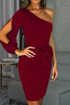 Bodycon Dress With Sleeves, Dresses With Sleeves, One Sleeve Dress, Peplum Dresses, Belted Dress, Fashion Dresses, Lady Like, Wine Red Dress, Trend Fashion