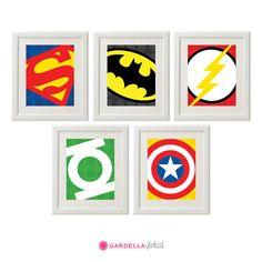 Superhero Wall Art, Superhero logos, Superhero Art, Boys Decor, Play Room decor, Instant download on Etsy, $6.00