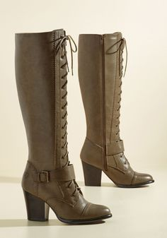 Reset the Standards Boot. Shake up the realm of classic footwear options with these khaki boots! #green #modcloth