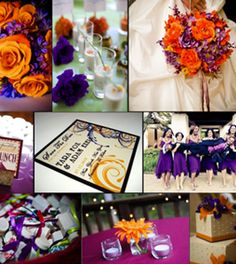Orange and purple wedding theme- not for my shindig. @Maggie Moore Landry Go Tigers :-)