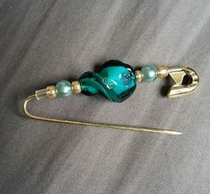 Turquoise&Gold Safety Brooch Hijab Pin