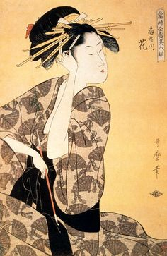 """One of Kitagawa Utamaro' courtesans from the """"Green Houses"""" at her """"toilette."""""""
