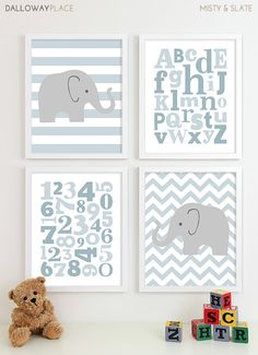 Nursery Art Chevron Elephant Nursery Prints, Kids Wall Art Baby Boys Room, Boys Nursery ABC Alphabet Nursery Art Print - 11x14