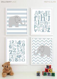 Baby Boy Kinderzimmer Kunst Chevron Elefant von DallowayPlaceKids