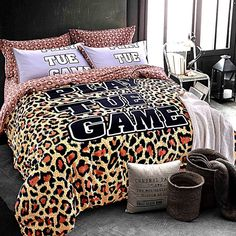Mumgo 4 Piece Queen King Premium Quality 100% Brushed Cotton Duvet Cover Set for Adult Kids - Personality Leopard Print Duvet Cover (Full/Queen size-4pc (no comforter or filling)) //Price: $59.28 & FREE Shipping //     #hashtag3