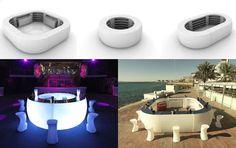 """Muebles futuristas. La barra iluminada """"Fiesta"""". Diseñada para ser utilizada tanto en interiores como exteriores, la barra iluminada """"Fiesta"""" fue construida a prueba de agua y a prueba del sol. Durante la noche, la barra puede encenderse y transformarse en el centro de la fiesta."""