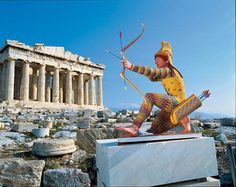 The painted replica of a c. 490 B.C. archer (at the Parthenon in Athens) testifies to German archaeologist Vinzenz Brinkmann's painstaking research into the ancient sculpture's colors. The original statue came from the Temple of Aphaia on the Greek island of Aegina.
