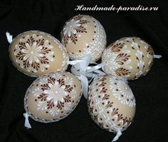 """Pysanky"" or Ukrainian Egg Dying - A wax resist dying technique."