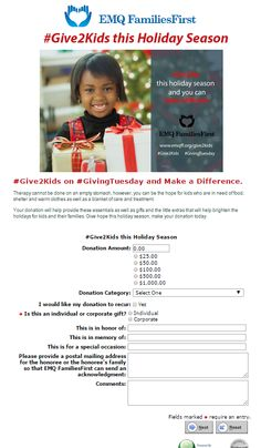 EMQ FamiliesFirst #GivingTuesday Donation Page submission! @emqff
