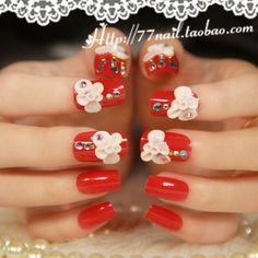 New 2013 Beautiful bride 3d acrylic flower decor red wedding false nails,24 pcs,free shipping $7.19