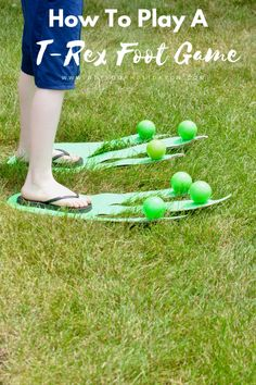 How To Play A Hilarious T-Rex Foot Game | Minute To Win It | Family Friendly DIY Game #diysummer #diycrafts #disney #party