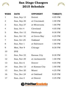 Printable San Diego Chargers Schedule - 2015 Football Season