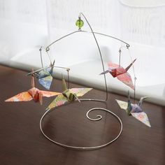 origami paper cranes -- cute table top mobile.