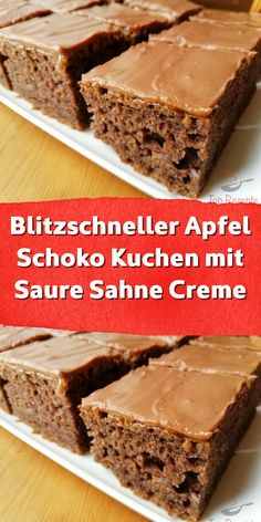 Lightning-fast apple chocolate cake with sour cream- Blitzschneller Apfel Schoko Kuchen mit Saure Sahne Creme It is a delicious juicy cake with max. Banana Bread Recipes, Easy Cake Recipes, Brownie Recipes, Chocolate Brownies, Chocolate Chip Cookies, Sour Cream Cake, Köstliche Desserts, Food Cakes, Popular Recipes