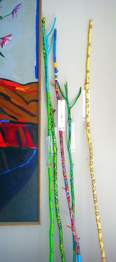 Big colorful sticks - must make these! Wonderful in the umbrella stand!