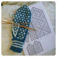 Love Knitting, Fair Isle Knitting, Knitting Charts, Knitting Stitches, Hand Knitting, Knitting Patterns, Mittens Pattern, Knit Mittens, Knitted Gloves