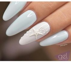Nails Light blue and white gel nails with a nice star detail Light blue and white gel nails with a nice star detail White Gel Nails, Blue Nails, Blue And White Nails, Nagel Blog, Beach Nails, Nail Decorations, 3d Nails, Coffin Nails, Creative Nails