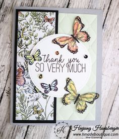 Butterfly Gala SAB Thank you card by islandyu - Cards and Paper Crafts at Splitcoaststampers Butterfly Birthday Cards, Girl Birthday Cards, Butterfly Cards, Handmade Birthday Cards, Butterfly Kit, Birthday Cakes, Thank You Greeting Cards, Sympathy Cards, Greeting Cards Handmade