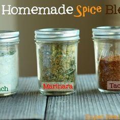 DIY Homemade Spice Blends - taco seasoning, ranch dressing, and marinara mixes