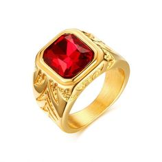Men Rings Gold-Color Big Red Stone Rings for Men Jewelry Rock Punk Large Wedding Rings Jewelry Big Engagement Rings, Engagement Jewelry, Wedding Engagement, Wedding Bands, Stone Rings For Men, Men Rings, Large Wedding Rings, Gold Rings Jewelry, Jewelry Watches