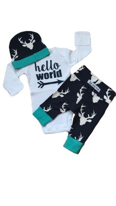 Newborn Baby coming home outfit Navy Deer and Teal theme boy going home set hello world baby shower gift coming home from the hospital set by GigiandMax on Etsy https://www.etsy.com/listing/262044058/newborn-baby-coming-home-outfit-navy