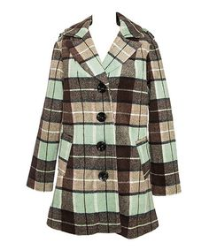 This Mint & Brown Plaid Wool-Blend Coat is perfect! #zulilyfinds