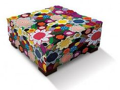 crochet flowers ottoman