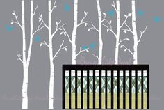 Baum Wandtattoo 6 leafy birch baums