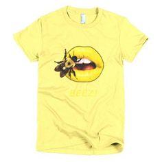 Short sleeve women's t-shirt Lemon with Bee on Yellow Lips